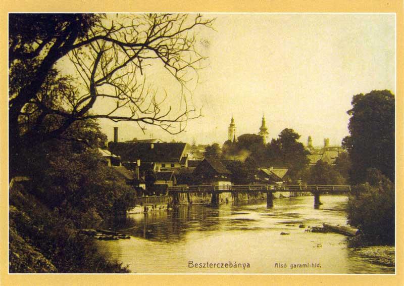 Hron s dolným drev. mostom okolo r.1912